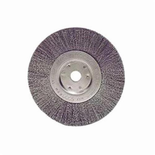 Weiler® 01675 Narrow Face Wheel Brush, 6 in Dia Brush, 3/4 in W Face, 0.006 in Dia Crimped Filament/Wire, 1/2 to 5/8 in Arbor Hole