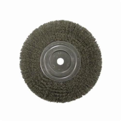 Weiler® 02325P Medium Face Wheel Brush, 6 in Dia Brush, 5/8 in W Face, 0.014 in Dia Crimped Filament/Wire, 1/2 to 5/8 in Arbor Hole