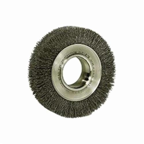Weiler® 03030 Wide Face Wheel Brush, 6 in Dia Brush, 1-1/4 in W Face, 0.006 in Dia Crimped Filament/Wire, 2 in Arbor Hole