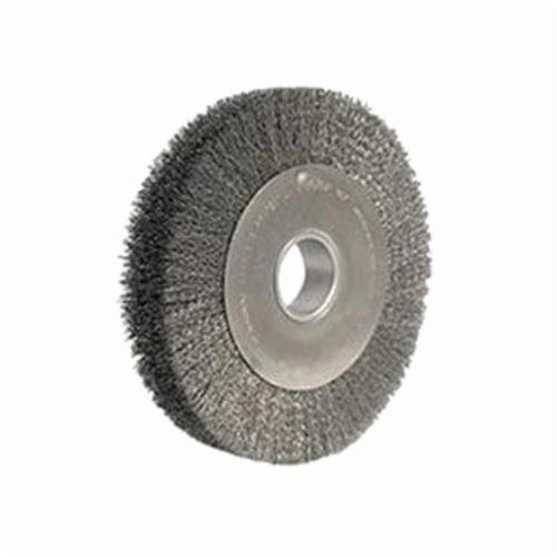 Weiler® 03180 Wide Face Wheel Brush, 10 in Dia Brush, 2 in W Face, 0.0104 in Dia Crimped Filament/Wire, 2 in Arbor Hole