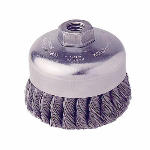 Weiler® 12206 Internal Nut Single Row Cup Brush, 4 in Dia Brush, 5/8-11 UNC Arbor Hole, 0.023 in Dia Filament/Wire, Cable Twist Knot, Steel Fill