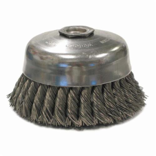 Weiler® 12256 Internal Nut Single Row Cup Brush, 5 in Dia Brush, 5/8-11 UNC Arbor Hole, 0.014 in Dia Filament/Wire, Standard/Twist Knot, Steel Fill