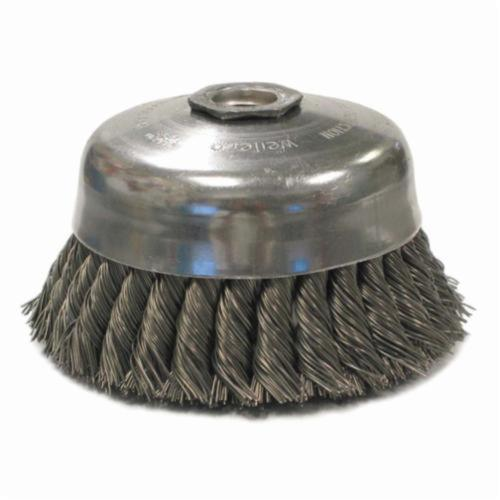 Weiler® 12276 Internal Nut Single Row Cup Brush, 5 in Dia Brush, 5/8-11 UNC Arbor Hole, 0.023 in Dia Filament/Wire, Standard/Twist Knot, Steel Fill