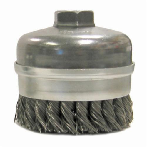 Weiler® 12301 Banded Extra Heavy Duty Single Row Cup Brush, 4 in Dia Brush, 5/8-11 UNC, 0.023 in, Standard/Twist Knot, Steel Fill