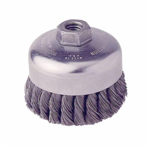 Weiler® 12306 Single Row Cup Brush, 4 in Dia Brush, 5/8-11 UNC Arbor Hole, 0.014 in Dia Filament/Wire, Standard/Twist Knot, Steel Fill