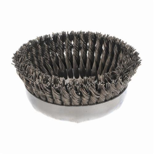 Weiler® 12396 Single Row Cup Brush, 6 in Dia Brush, 5/8-11 UNC Arbor Hole, 0.035 in Dia Filament/Wire, Standard/Twist Knot, Steel Fill