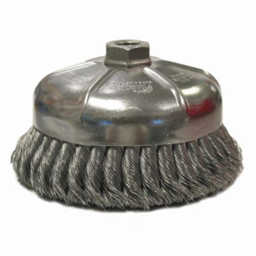 Weiler® 12476 Single Row Cup Brush, 6 in Dia Brush, 5/8-11 UNC, 0.023 in, Standard/Twist Knot, Stainless Steel Fill