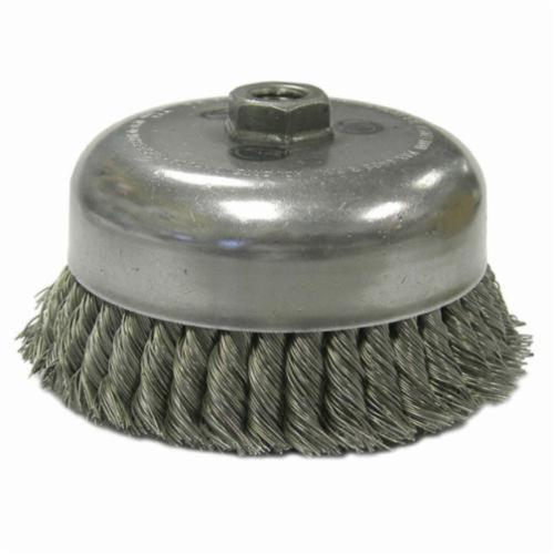 Weiler® 12556 Double Row Heavy Duty Cup Brush, 6 in Dia Brush, 5/8-11 UNC Arbor Hole, 0.023 in Dia Filament/Wire, Standard/Twist Knot, Steel Fill