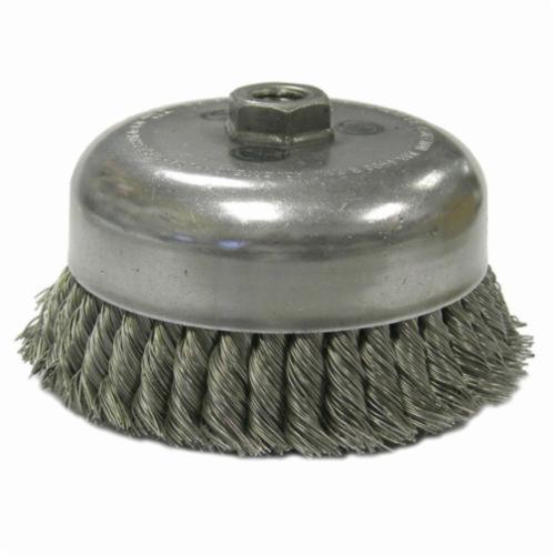 Weiler® 12576 Double Row Heavy Duty Cup Brush, 6 in Dia Brush, 5/8-11 UNC, 0.035 in, Standard/Twist Knot, Steel Fill