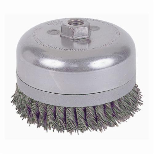 Weiler® 12686 Banded Extra Double Row Heavy Duty Cup Brush, 6 in Dia Brush, 5/8-11 UNC, 0.035 in, Standard/Twist Knot, Steel Fill
