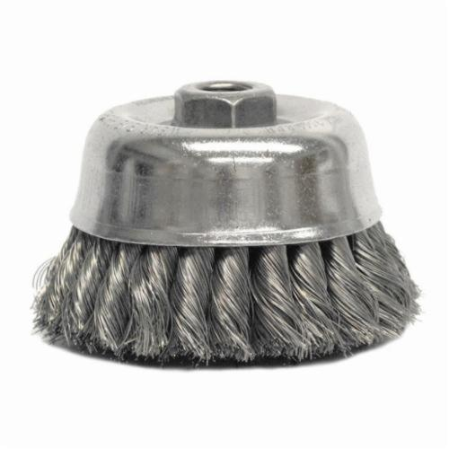 Weiler® 12726 Double Row Cup Brush, 4 in Dia Brush, 5/8-11 UNC Arbor Hole, 0.02 in Dia Filament/Wire, Standard/Twist Knot, Stainless Steel Fill