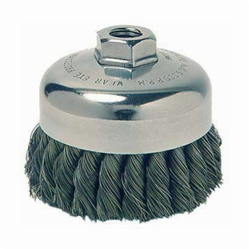 Weiler® 12736 Heavy Duty Single Row Cup Brush, 3-1/2 in Dia Brush, 5/8-11 UNC Arbor Hole, 0.014 in Dia Filament/Wire, Standard/Twist Knot, Steel Fill
