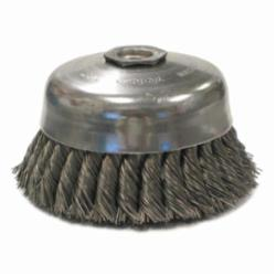 Weiler® 12816 Internal Nut Single Row Cup Brush, 6 in Dia Brush, 5/8-11 UNC, 0.023 in, Standard/Twist Knot, Steel Fill