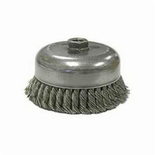 Weiler® 12906 Double Row Heavy Duty Cup Brush, 6 in Dia Brush, 5/8-11 UNC, 0.014 in, Standard/Twist Knot, Steel Fill