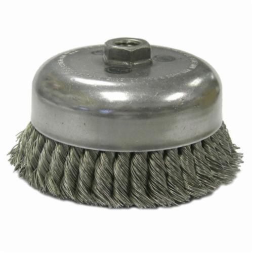Weiler® 12926 Double Row Heavy Duty Cup Brush, 6 in Dia Brush, 5/8-11 UNC Arbor Hole, 0.035 in Dia Filament/Wire, Standard/Twist Knot, Steel Fill