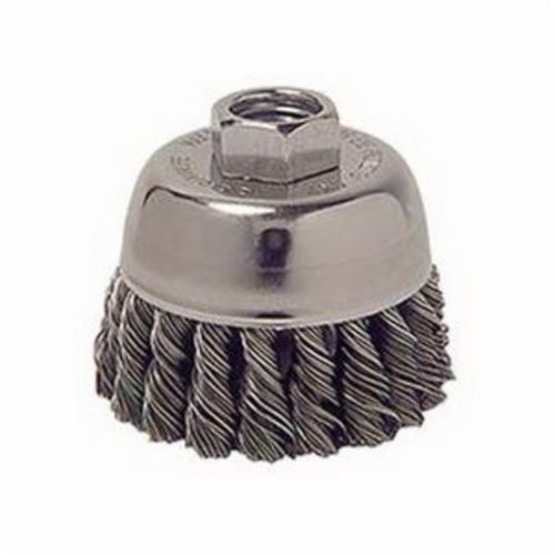 Weiler® 13015 Single Row Cup Brush, 2-3/4 in Dia Brush, M10x1.25 Arbor Hole, 0.014 in Dia Filament/Wire, Standard/Twist Knot, Steel Fill
