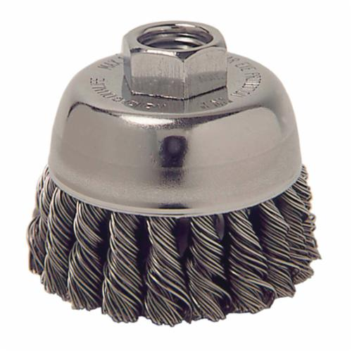 Weiler® 13020 Single Row Cup Brush, 2-3/4 in Dia Brush, M14x2 Arbor Hole, 0.014 in Dia Filament/Wire, Standard/Twist Knot, Steel Fill
