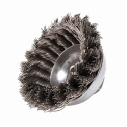 Mighty-Mite™ 13156 Single Row Cup Brush, 3-1/2 in Dia Brush, 5/8-11 UNC, 0.023 in, Standard/Twist Knot, Steel Fill