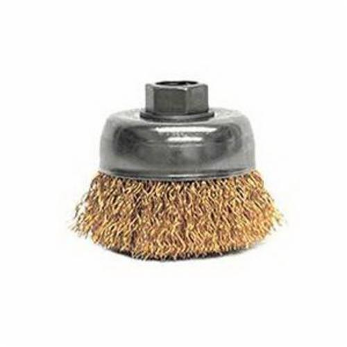 Mighty-Mite™ 13231 Non-Sparking Cup Brush, 3 in Dia Brush, 5/8-11 UNC Arbor Hole, 0.02 in Dia Filament/Wire, Crimped, Bronze Fill
