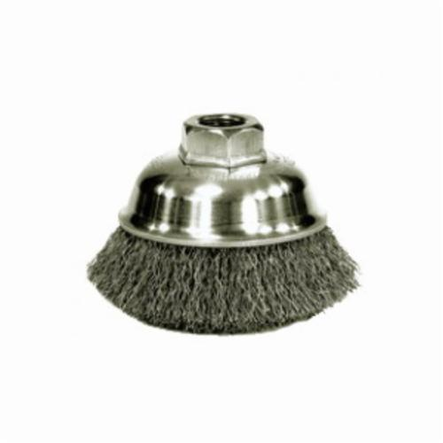 Mighty-Mite™ 13240P Cup Brush, 3 in Dia Brush, M10x1.25, 0.014 in, Crimped, Steel Fill
