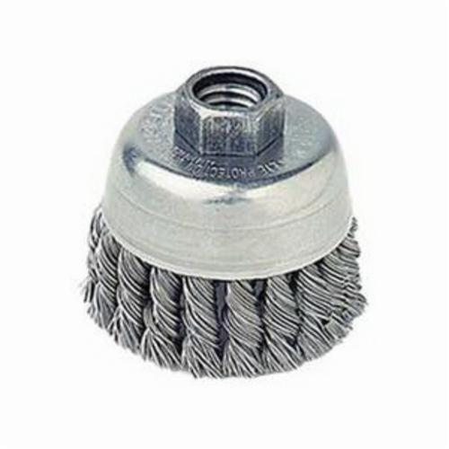 Mighty-Mite™ 13257 Single Row Cup Brush, 2-3/4 in Dia Brush, 1/2-13 UNC Arbor Hole, 0.02 in Dia Filament/Wire, Standard/Twist Knot, Stainless Steel Fill