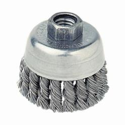Mighty-Mite™ 13286 Single Row Cup Brush, 2-3/4 in Dia Brush, 5/8-11 UNC, 0.02 in, Standard/Twist Knot, Steel Fill
