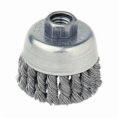 Mighty-Mite™ 13286 Single Row Cup Brush, 2-3/4 in Dia Brush, 5/8-11 UNC Arbor Hole, 0.02 in Dia Filament/Wire, Standard/Twist Knot, Steel Fill
