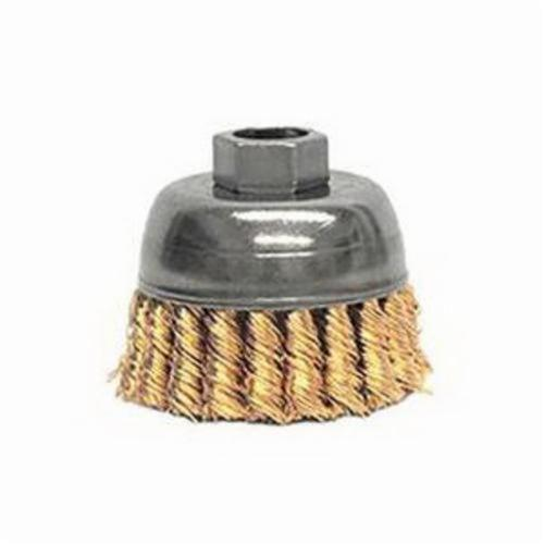 Mighty-Mite™ 13299 Single Row Cup Brush, 2-3/4 in Dia Brush, 5/8-11 UNC, 0.02 in, Standard/Twist Knot, Bronze Fill