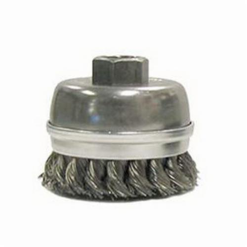 Weiler® 13300 Banded Extra Heavy Duty Single Row Cup Brush, 2-3/4 in Dia Brush, 5/8-11 UNC, 0.014 in, Standard/Twist Knot, Steel Fill