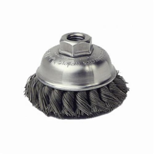 Mighty-Mite™ 13156P Single Row Cup Brush, 3-1/2 in Dia Brush, 5/8-11 UNC, 0.023 in, Standard/Twist Knot, Steel Fill