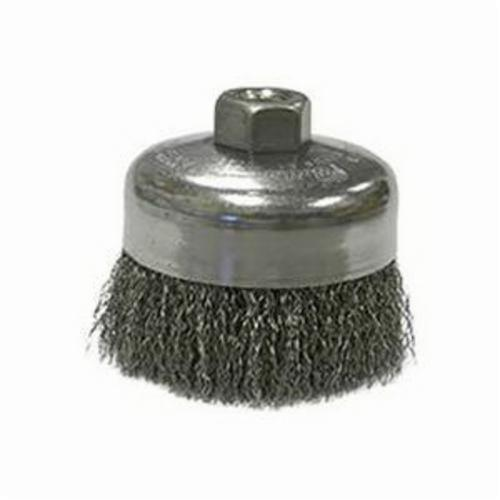Weiler® 14016 Cup Brush, 4 in Dia Brush, 5/8-11 UNC, 0.0118 in, Crimped, Steel Fill