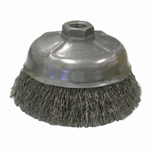 Weiler® 14206 Cup Brush, 5 in Dia Brush, 5/8-11 UNC, 0.014 in, Crimped, Steel Fill