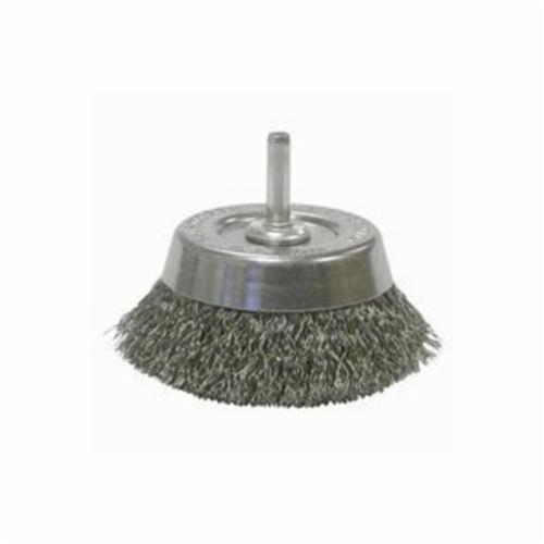 Weiler® 14302 Stem Mounted Utility Cup Brush, 2-3/4 in Dia Brush, 0.0118 in Dia Filament/Wire, Crimped, Steel Fill