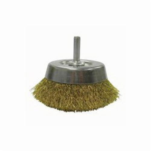 Weiler® 14311 Stem Mounted Utility Cup Brush, 2-3/4 in Dia Brush, 0.0118 in, Crimped, Brass Fill