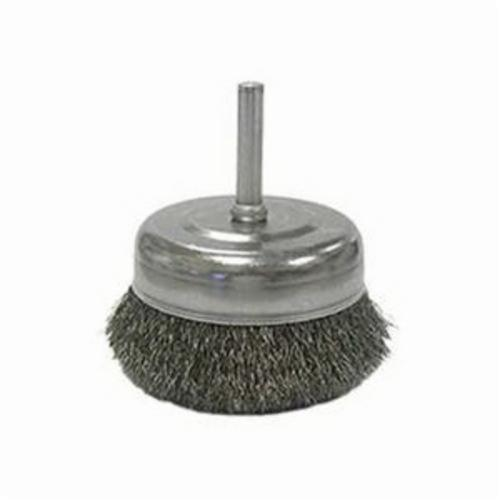 Weiler® 14315 Stem Mounted Utility Cup Brush, 2-1/2 in Dia Brush, 0.008 in, Crimped, Steel Fill