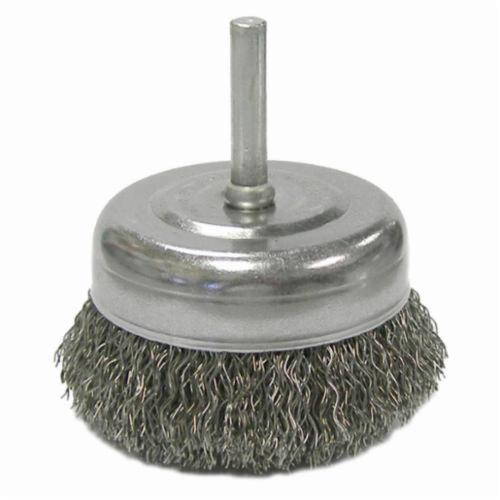 Weiler® 14317 Stem Mounted Utility Cup Brush, 2-1/2 in Dia Brush, 0.014 in, Crimped, Steel Fill