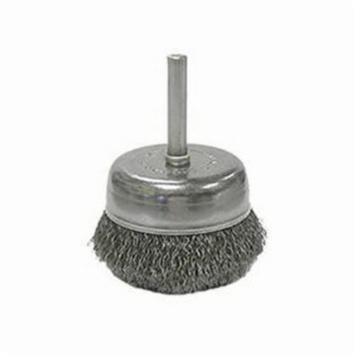 Weiler® 14319 Stem Mounted Utility Cup Brush, 2 in Dia Brush, 0.0118 in Dia Filament/Wire, Crimped, Stainless Steel Fill