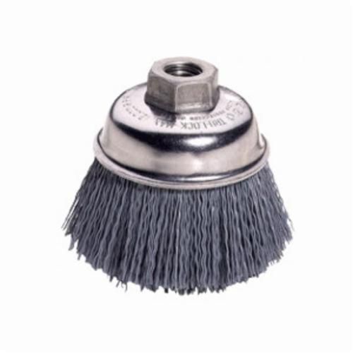 Nylox® 14404 Stem Mounted Cup Brush, 2-3/4 in Dia Brush, 0.04 in Dia Filament/Wire, Crimped, Silicon Carbide Fill