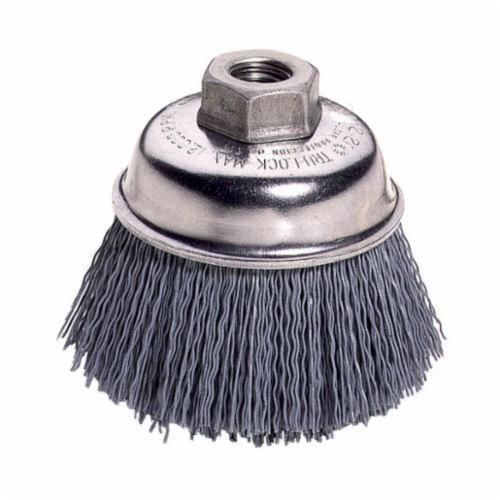 Nylox® 14414 Cup Brush, 3-1/2 in Dia Brush, 5/8-11 UNC Arbor Hole, 0.04 in Dia Filament/Wire, Crimped, Silicon Carbide Fill