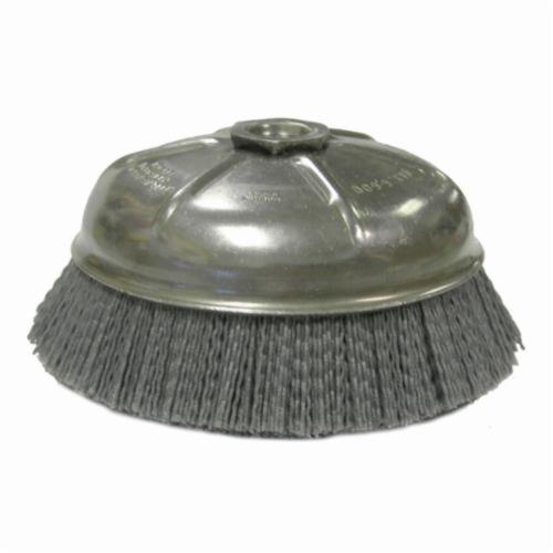 Nylox® 14506 Internal Nut Cup Brush, 6 in Dia Brush, 5/8-11 UNC Arbor Hole, 0.04 in Dia Filament/Wire, Crimped, Silicon Carbide Fill