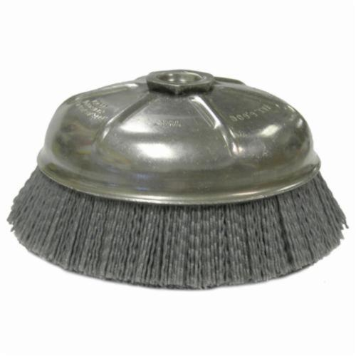 Nylox® 14516 Internal Nut Cup Brush, 6 in Dia Brush, 5/8-11 UNC Arbor Hole, 0.04 in Dia Filament/Wire, Crimped, Silicon Carbide Fill