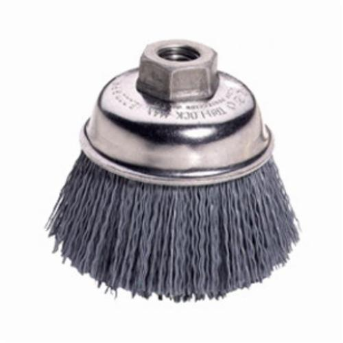 Nylox® 14576 Cup Brush, 5 in Dia Brush, 5/8-11 UNC, 0.04 in, Crimped, Silicon Carbide Fill