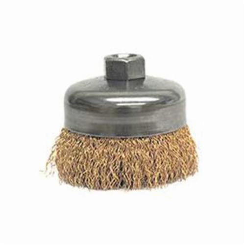 Weiler® 14616 Non-Sparking Cup Brush, 4 in Dia Brush, 5/8-11 UNC Arbor Hole, 0.02 in Dia Filament/Wire, Crimped, Bronze Fill