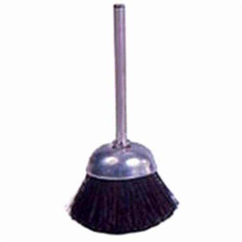 Weiler® 26093 Miniature Stem Mounted Cup Brush, 9/16 in Dia Brush, 0.005 in Dia Filament/Wire, Stiff Hair Fill