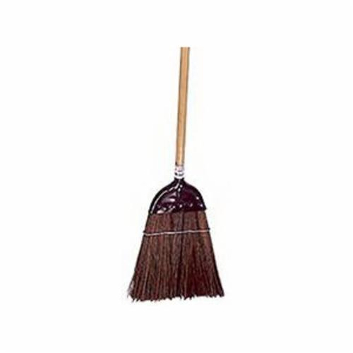 Weiler® 44007 Metal Cap Upright Broom, Palmyra Bristle, 12 in Wire Banded Sweep Face, 10 in L Trim, Wood Handle, 55 in OAL