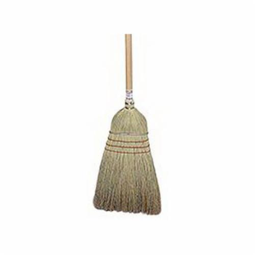 Weiler® 44008 Wearhouse Heavy Duty Upright Broom, Corn/Fiber Bristle, Wire Banded Sweep Face, 18 in L Trim, Wood Handle, 57 in OAL