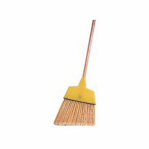 Weiler® 44305 Angle Broom, Flagged Plastic Bristle, 8-1/8 in W, 6 to 7-1/2 in L Trim, Tan Wood Handle, 54 in OAL