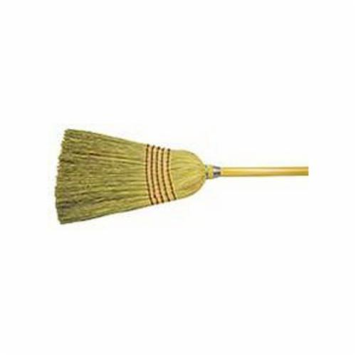 Weiler® 70308 Janitorial Upright Broom, Corn/Fiber Bristle, Wire Banded Sweep Face, 17 in L Trim, Wood Handle, 57 in OAL