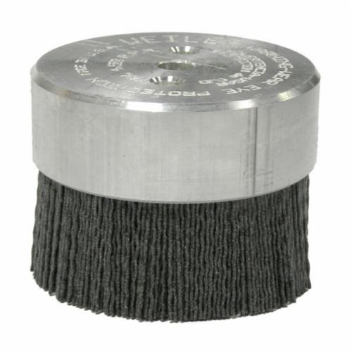 Burr-Rx® 86111 Crimped Maximum Density Miniature Round Straight Disc Brush, 3 in Dia Brush, 3/8 in, 0.055 in, Ceramic Fill