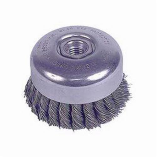 Weiler® 94012 Double Row Internal Nut Cup Brush, 4 in Dia Brush, 5/8-11 UNC, 0.023 in, Standard/Twist Knot, Steel Fill